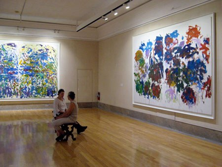 <p>Installation view at Butler Art Museum with <em>Riviere</em>, 1990 (left) and <em>Sunflowers</em>, 1990&ndash;91 (right).</p>
